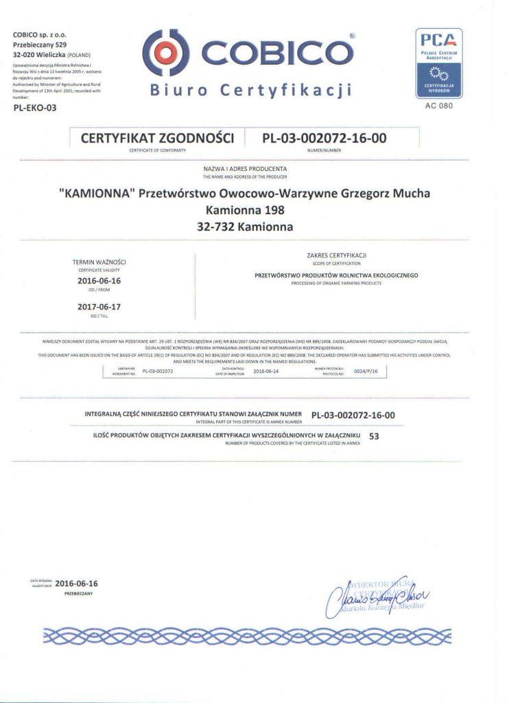 Certyfikat zgodności COBICO - Kamionna